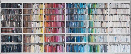 Färgkodad bokhylla – Malin inredare